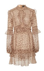 J. Mendel Leopard Print Ruffle Dress Animal