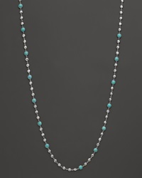 Ippolita Rock Candy Long Multi Stone And Flat Hammered Bead Necklace In Turquoise 36 Silver