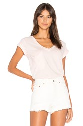 Bobi Light Weight Jersey V Neck Pocket Tee Pink
