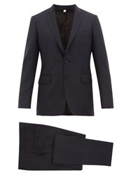 Burberry Single Breasted Wool Blend Crepe Two Piece Suit Navy