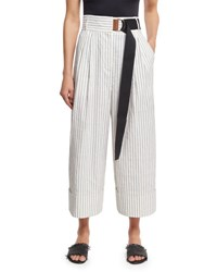 Tibi Cecil Striped Culottes With D Ring Belt White White Pattern