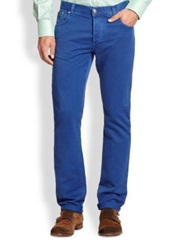 Isaia Slim Fit Jeans Red Indigo Brown