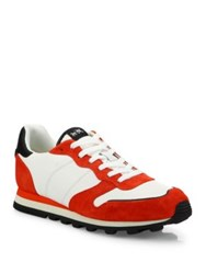 Coach Multitoned Leather And Suede Shoes Red