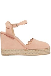 Castaner Caterina Scalloped Cutout Suede Wedge Espadrilles Blush