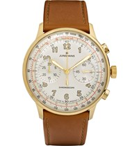 Junghans Meister Telemeter Chronoscope Gold Tone And Leather Watch Brown