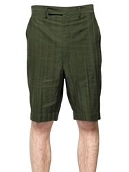 Umit Benan Striped Cotton Blend Shorts Green