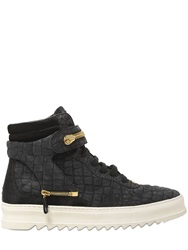 D S De Croc Embossed Leather High Top Sneakers Black