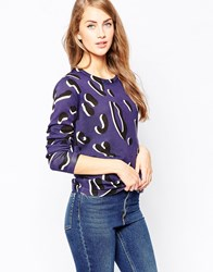 Sugarhill Boutique Leopard Spot Jumper Blue