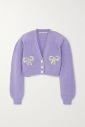 Alessandra Rich Sequin Embellished Mohair Blend Cardigan Lilac