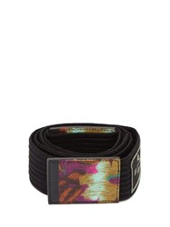 Etro Floral Print Ribbed Cotton Tie Belt Black