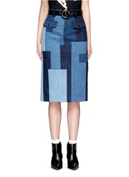 Jinnnn Snake Effect Belt Cotton Denim Patchwork Skirt Blue