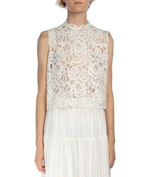 Saint Laurent Sleeveless Cropped Lace Shell White