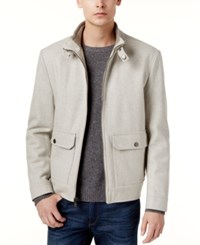 Kenneth Cole New York Wool Blend Bomber Coat Tin