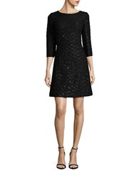 Vince Camuto Textured Sequin Dress Black Silver