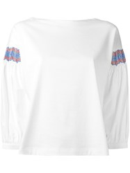Moncler Embroidered Sleeve Top White