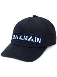 Balmain Embroidered Logo Baseball Cap Blue