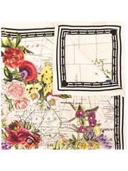 Gucci Flowers Print Square Scarf White