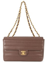 Chanel Vintage Quilted Double Chain Shoulder Bag Brown