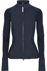Adidas By Stella Mccartney Stretch Jersey And Ribbed Knit Jacket Midnight Blue