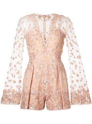 Zuhair Murad Embellished Romper Pink And Purple