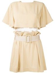 Toga Pleated Trim Belted Dress Brown