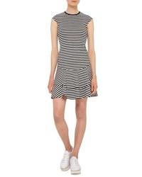 Akris Punto Striped Cap Sleeve Flounce Dress Black Cream Black Crea