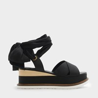 Charles And Keith Scarf Wrap Ankle Strap Flatforms Black