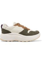 Eytys Jet Shell And Suede Sneakers Gray Green