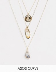 Asos Design Curve Multirow Necklace With Faux Shell And Vintage Style Charms In Gold