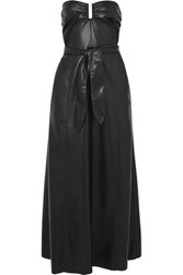 Nanushka Anja Strapless Vegan Faux Leather Midi Dress Black