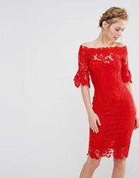 Paper Dolls Off Shoulder Crochet Dress With Frill Sleeve Red