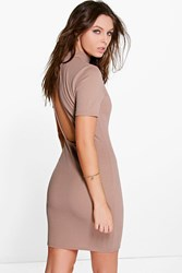 Boohoo Open Back High Neck Bodycon Dress Sand