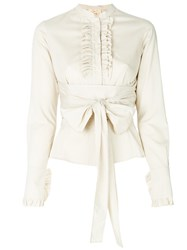 Romeo Gigli Vintage Ruffled Trim Belted Shirt Nude And Neutrals