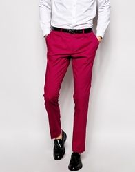 Sisley Cotton Stretch Suit Trousers In Slim Fit Burgundy08m