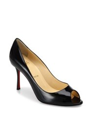 Christian Louboutin Patent Leather Peep Toe Pumps Nude Black