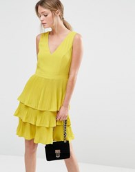 Oasis V Neck Pleat Tiered Dress Chartreuse Yellow