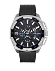 Diesel Dz4392 Heavyweight Stainless Steel And Textured Leather Watch Black