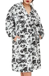 Elvi Plus Size Women's The Eave Floral Trench Coat White