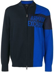 Armani Exchange Logo Full Zip Fleece Blue