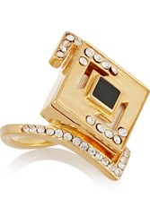 Kilian Lights And Reflections Gold Plated Swarovski Crystal And Onyx Ring