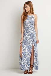 Forever 21 Paisley High Slit Maxi Dress White Blue