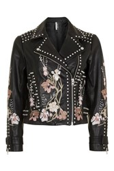 Topshop Petite Embroidered Leather Jacket Black