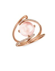Levian Rose Quartz And Vanilla Diamond 14K Strawberry Gold Ring Rose Gold