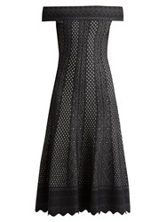 Alexander Mcqueen Off The Shoulder Lace Jacquard Midi Dress Black