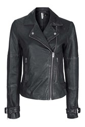 Topshop Tall Wolf Leather Biker Jacket Black