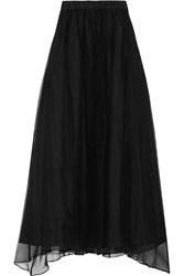 Brunello Cucinelli Pleated Crinkled Silk Maxi Skirt Black