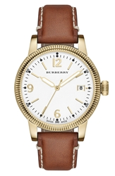 Burberry 'Utilitarian' Round Leather Strap Watch 38Mm Saddle Gold