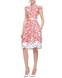 Oscar De La Renta Cap Sleeve Flower Dress With Pockets Granita
