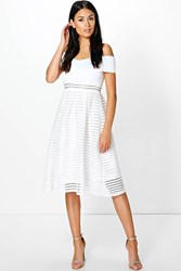 Boohoo Off Shoulder Panelled Midi Skater Dress Ivory