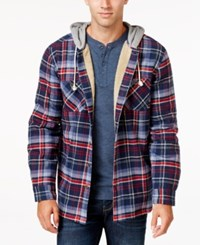Weatherproof Vintage Men's Big And Tall Hooded Plaid Shirt Jacket Only At Macy's Dress Blue